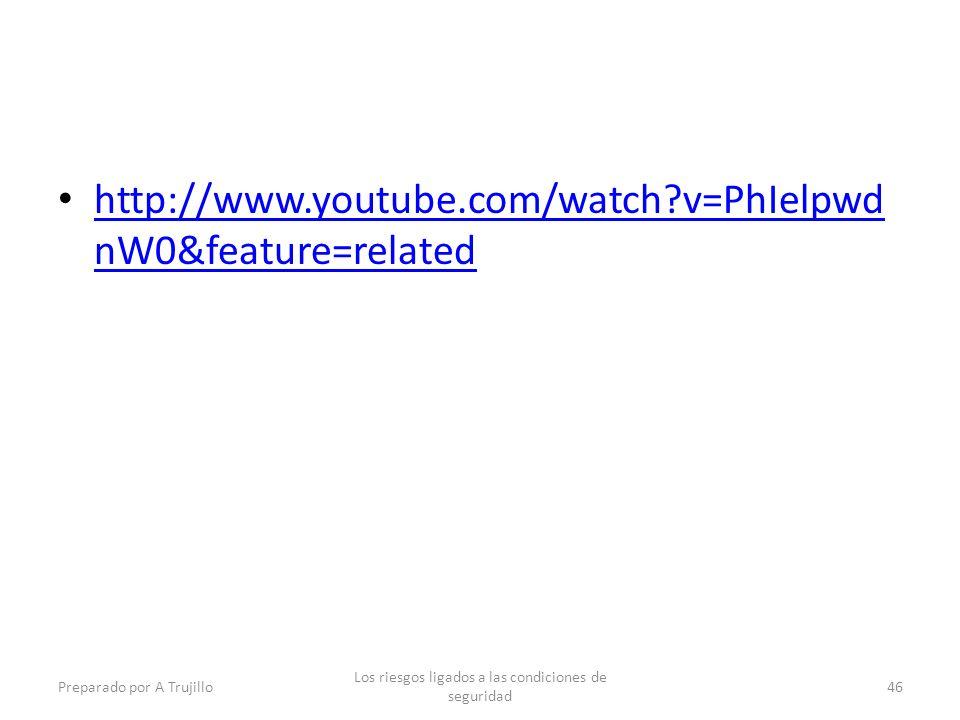 http://www.youtube.com/watch?v=PhIelpwd nW0&feature=related http://www.youtube.com/watch?v=PhIelpwd nW0&feature=related Preparado por A Trujillo Los riesgos ligados a las condiciones de seguridad 46