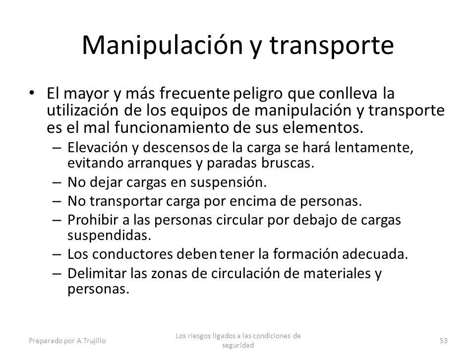 Manipulación y transporte El mayor y más frecuente peligro que conlleva la utilización de los equipos de manipulación y transporte es el mal funcionamiento de sus elementos.