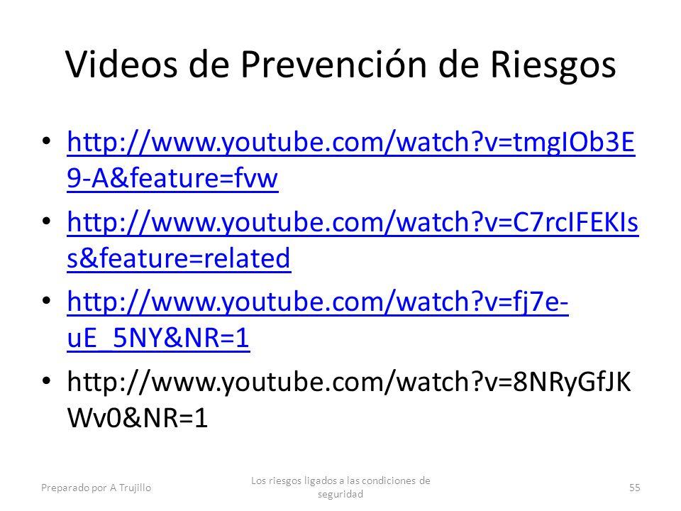 Videos de Prevención de Riesgos http://www.youtube.com/watch?v=tmgIOb3E 9-A&feature=fvw http://www.youtube.com/watch?v=tmgIOb3E 9-A&feature=fvw http://www.youtube.com/watch?v=C7rcIFEKIs s&feature=related http://www.youtube.com/watch?v=C7rcIFEKIs s&feature=related http://www.youtube.com/watch?v=fj7e- uE_5NY&NR=1 http://www.youtube.com/watch?v=fj7e- uE_5NY&NR=1 http://www.youtube.com/watch?v=8NRyGfJK Wv0&NR=1 Preparado por A Trujillo Los riesgos ligados a las condiciones de seguridad 55
