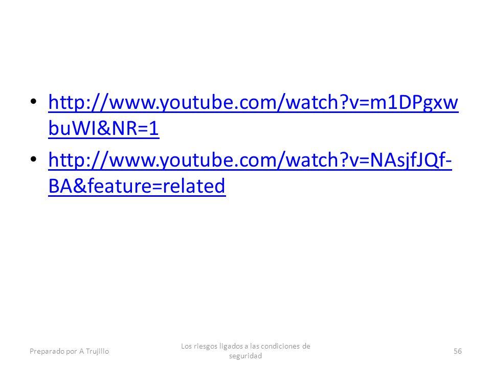 http://www.youtube.com/watch?v=m1DPgxw buWI&NR=1 http://www.youtube.com/watch?v=m1DPgxw buWI&NR=1 http://www.youtube.com/watch?v=NAsjfJQf- BA&feature=related http://www.youtube.com/watch?v=NAsjfJQf- BA&feature=related Preparado por A Trujillo Los riesgos ligados a las condiciones de seguridad 56