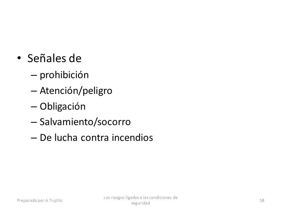 Señales de – prohibición – Atención/peligro – Obligación – Salvamiento/socorro – De lucha contra incendios Preparado por A Trujillo Los riesgos ligados a las condiciones de seguridad 58