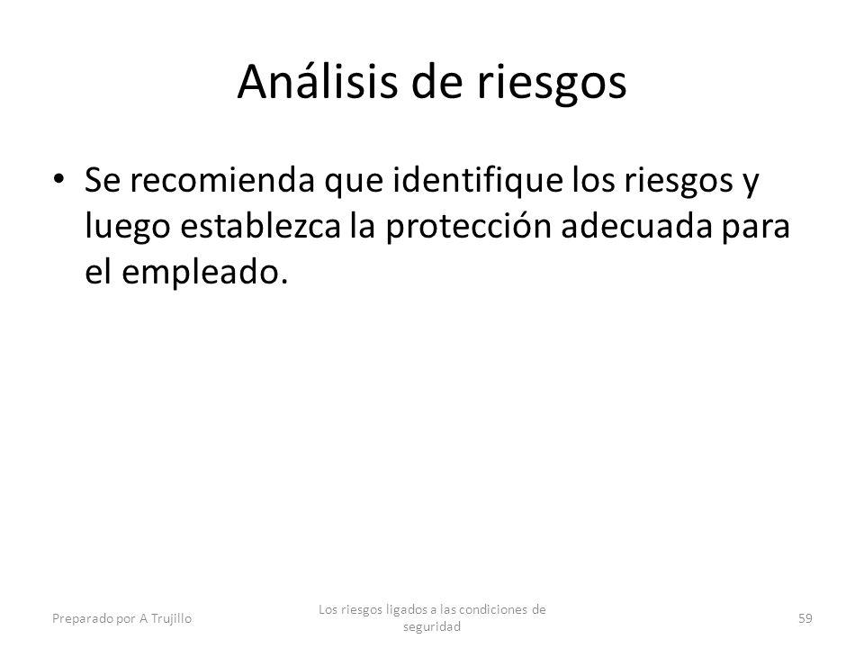Análisis de riesgos Se recomienda que identifique los riesgos y luego establezca la protección adecuada para el empleado. Preparado por A Trujillo Los