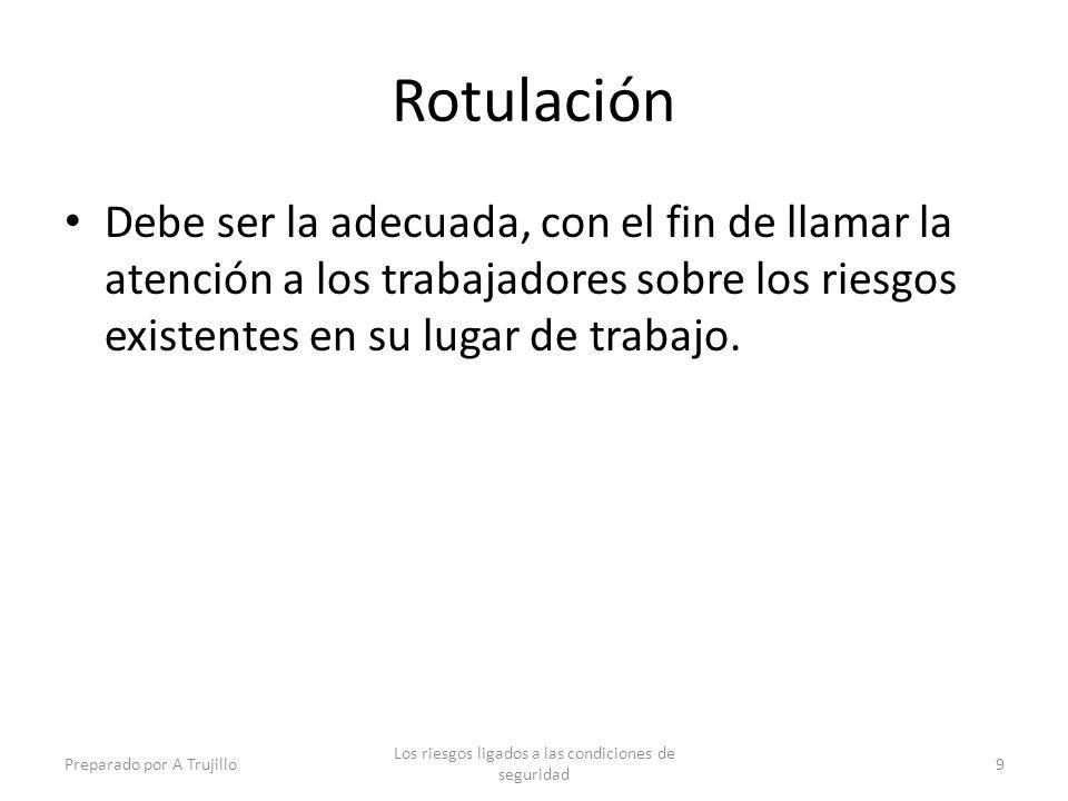 Rotulación Debe ser la adecuada, con el fin de llamar la atención a los trabajadores sobre los riesgos existentes en su lugar de trabajo.
