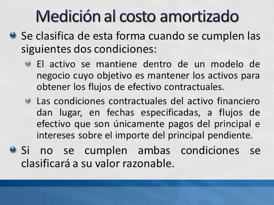 Se clasifica de esta forma cuando se cumplen las siguientes dos condiciones: El activo se mantiene dentro de un modelo de negocio cuyo objetivo es mantener los activos para obtener los flujos de efectivo contractuales.
