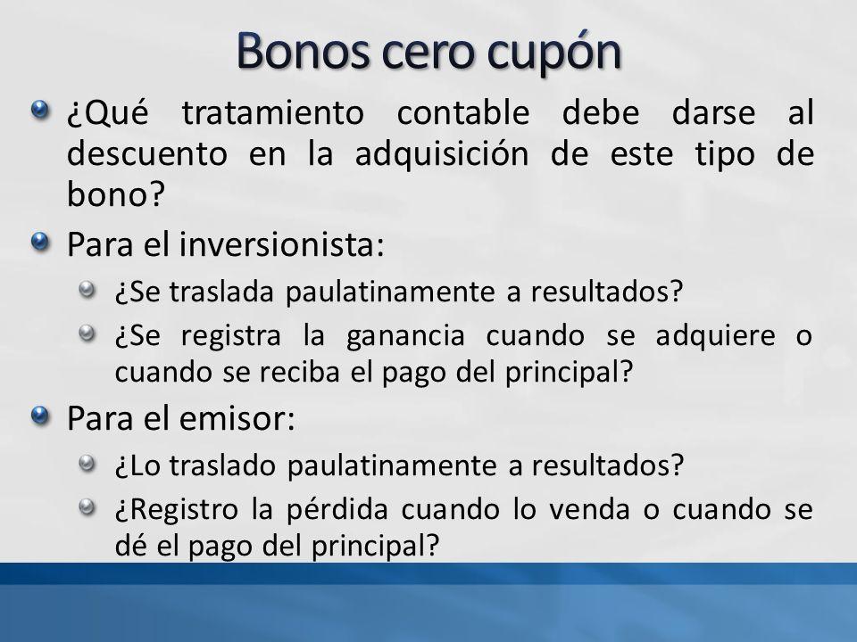 ¿Qué tratamiento contable debe darse al descuento en la adquisición de este tipo de bono? Para el inversionista: ¿Se traslada paulatinamente a resulta