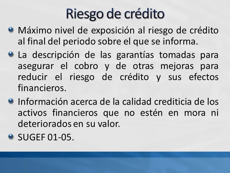 Máximo nivel de exposición al riesgo de crédito al final del periodo sobre el que se informa. La descripción de las garantías tomadas para asegurar el
