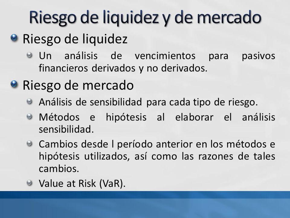 Riesgo de liquidez Un análisis de vencimientos para pasivos financieros derivados y no derivados. Riesgo de mercado Análisis de sensibilidad para cada