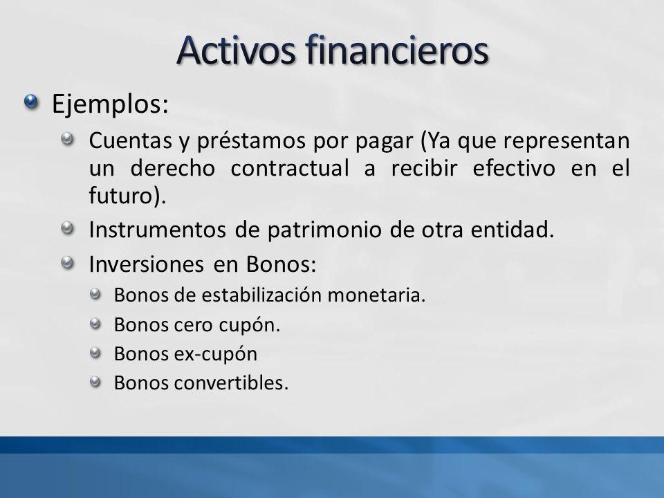 Ejemplos: Cuentas y préstamos por pagar (Ya que representan un derecho contractual a recibir efectivo en el futuro). Instrumentos de patrimonio de otr
