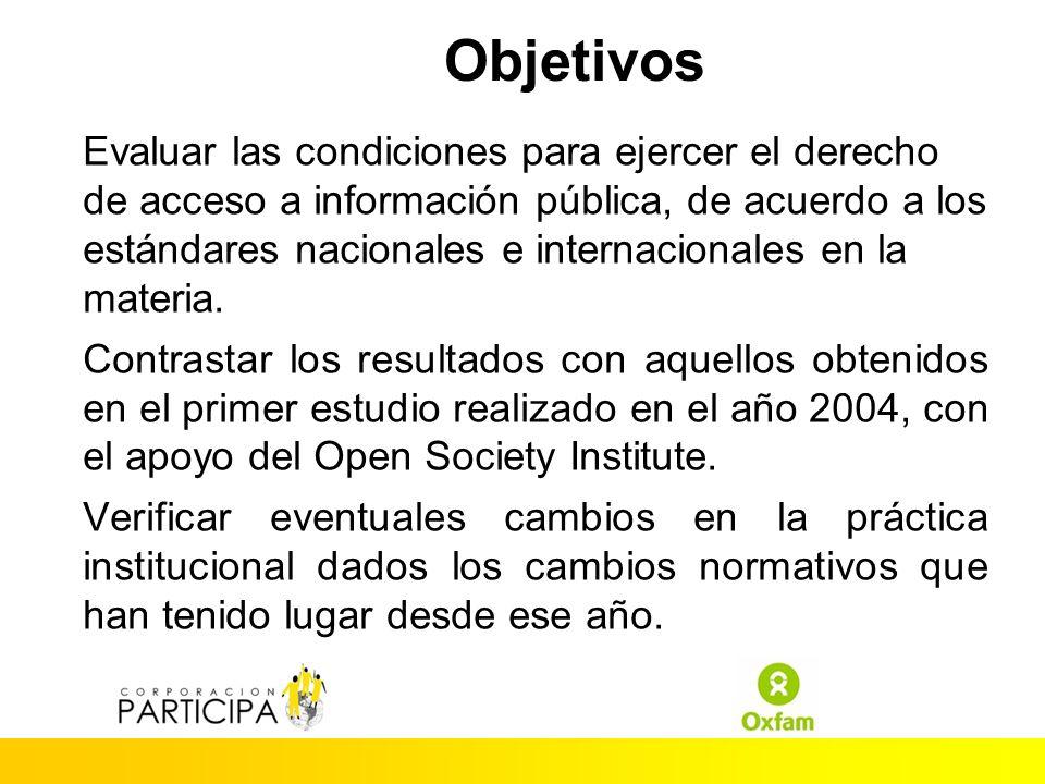 Objetivos Evaluar las condiciones para ejercer el derecho de acceso a información pública, de acuerdo a los estándares nacionales e internacionales en la materia.