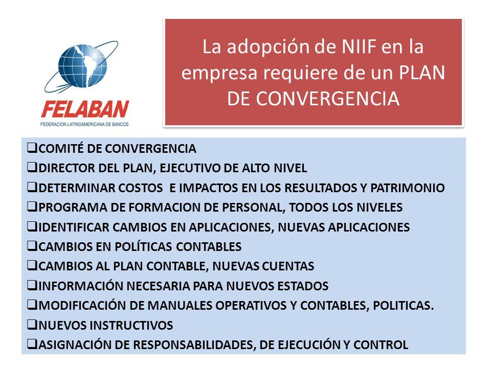 La adopción de NIIF en la empresa requiere de un PLAN DE CONVERGENCIA COMITÉ DE CONVERGENCIA DIRECTOR DEL PLAN, EJECUTIVO DE ALTO NIVEL DETERMINAR COS