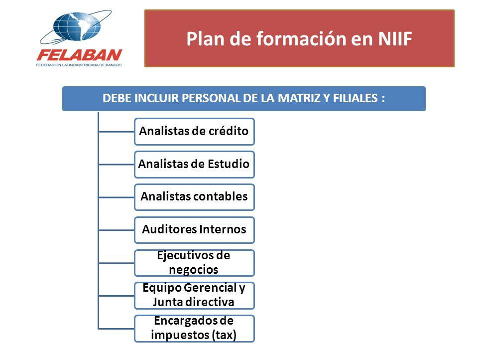 Plan de formación en NIIF DEBE INCLUIR PERSONAL DE LA MATRIZ Y FILIALES :Analistas de créditoAnalistas de EstudioAnalistas contablesAuditores Internos