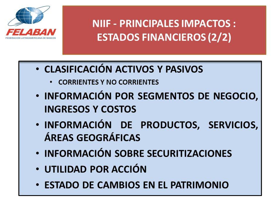 NIIF - PRINCIPALES IMPACTOS : ESTADOS FINANCIEROS (2/2) CLASIFICACIÓN ACTIVOS Y PASIVOS CORRIENTES Y NO CORRIENTES INFORMACIÓN POR SEGMENTOS DE NEGOCI
