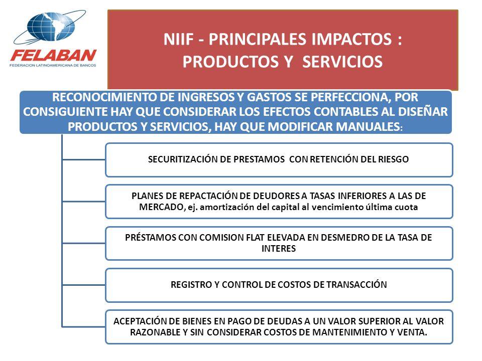 NIIF - PRINCIPALES IMPACTOS : PRODUCTOS Y SERVICIOS RECONOCIMIENTO DE INGRESOS Y GASTOS SE PERFECCIONA, POR CONSIGUIENTE HAY QUE CONSIDERAR LOS EFECTO