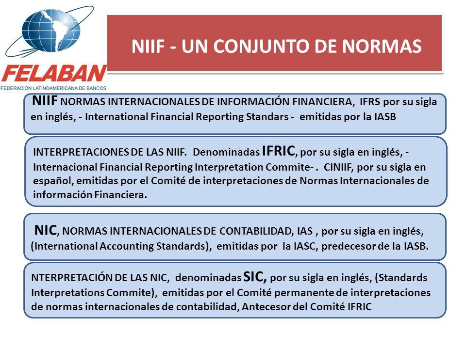 NIIF - UN CONJUNTO DE NORMAS NIIF NORMAS INTERNACIONALES DE INFORMACIÓN FINANCIERA, IFRS por su sigla en inglés, - International Financial Reporting S