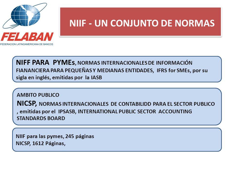 NIIF - UN CONJUNTO DE NORMAS AMBITO PUBLICO NICSP, NORMAS INTERNACIONALES DE CONTABILIDD PARA EL SECTOR PUBLICO, emitidas por el IPSASB, INTERNATIONAL