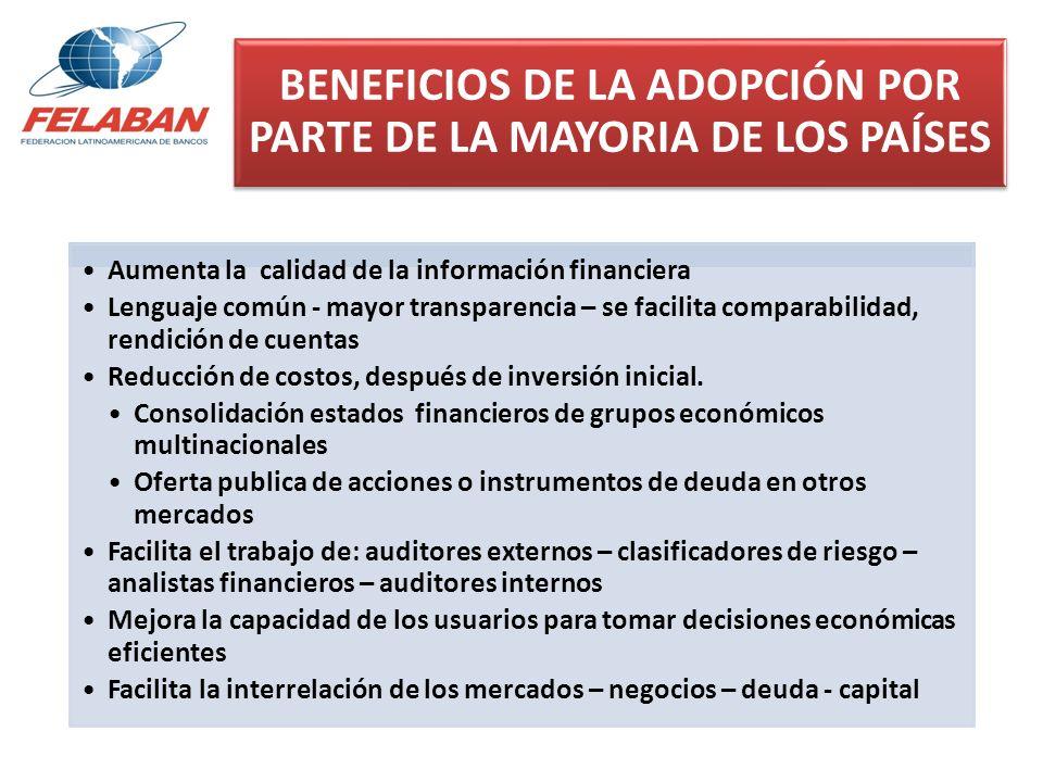 BENEFICIOS DE LA ADOPCIÓN POR PARTE DE LA MAYORIA DE LOS PAÍSES Aumenta la calidad de la información financiera Lenguaje común - mayor transparencia –