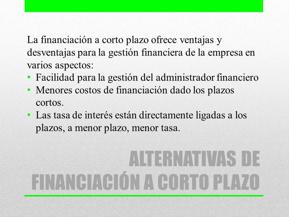 ALTERNATIVAS DE FINANCIACIÓN A CORTO PLAZO La financiación a corto plazo ofrece ventajas y desventajas para la gestión financiera de la empresa en var