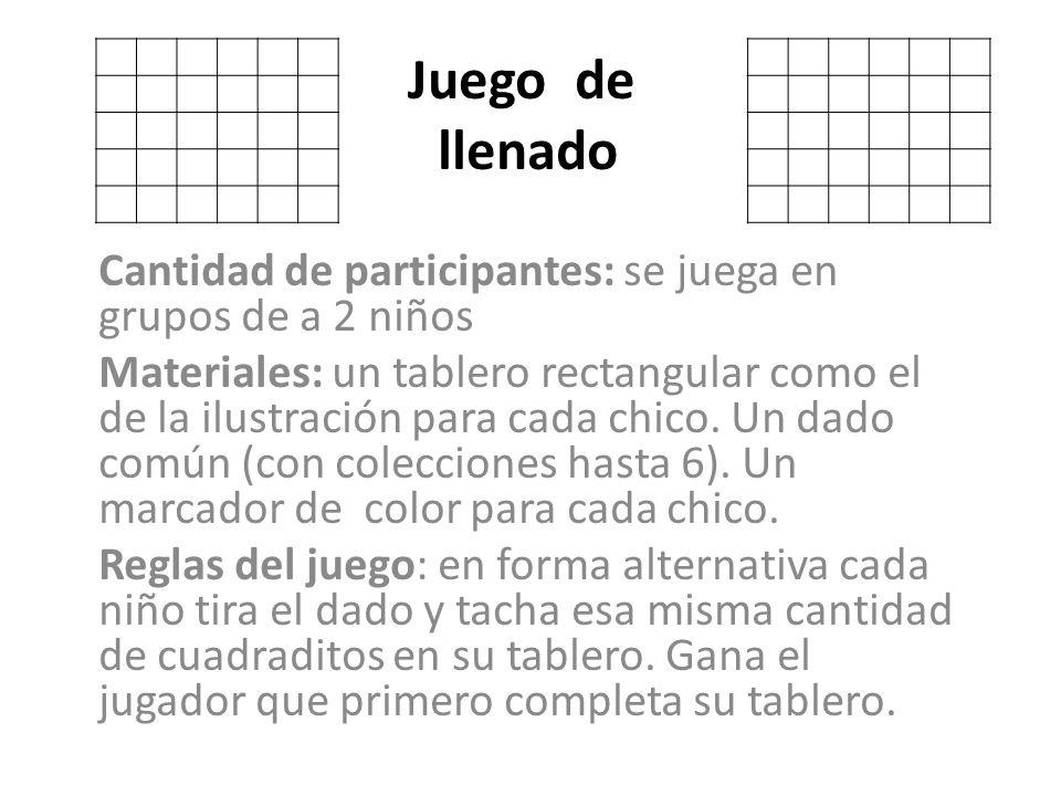 Juego de llenado Cantidad de participantes: se juega en grupos de a 2 niños Materiales: un tablero rectangular como el de la ilustración para cada chi