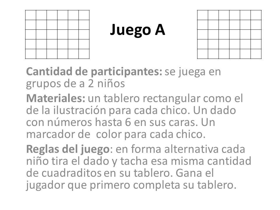 Juego A Cantidad de participantes: se juega en grupos de a 2 niños Materiales: un tablero rectangular como el de la ilustración para cada chico. Un da