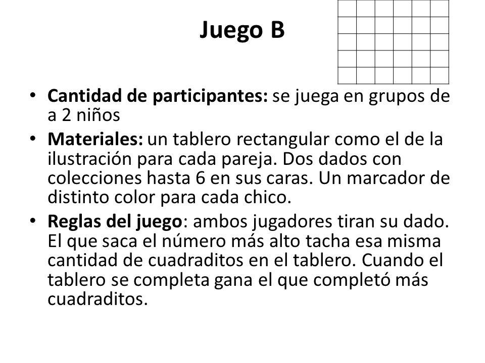 Juego B Cantidad de participantes: se juega en grupos de a 2 niños Materiales: un tablero rectangular como el de la ilustración para cada pareja. Dos