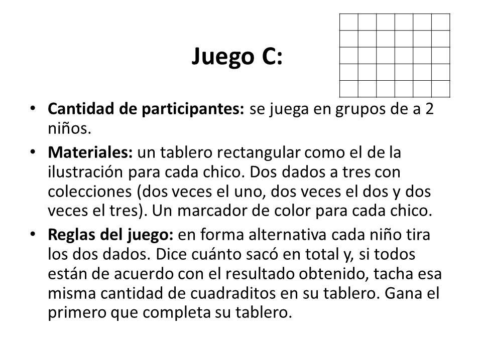 Juego C: Cantidad de participantes: se juega en grupos de a 2 niños. Materiales: un tablero rectangular como el de la ilustración para cada chico. Dos