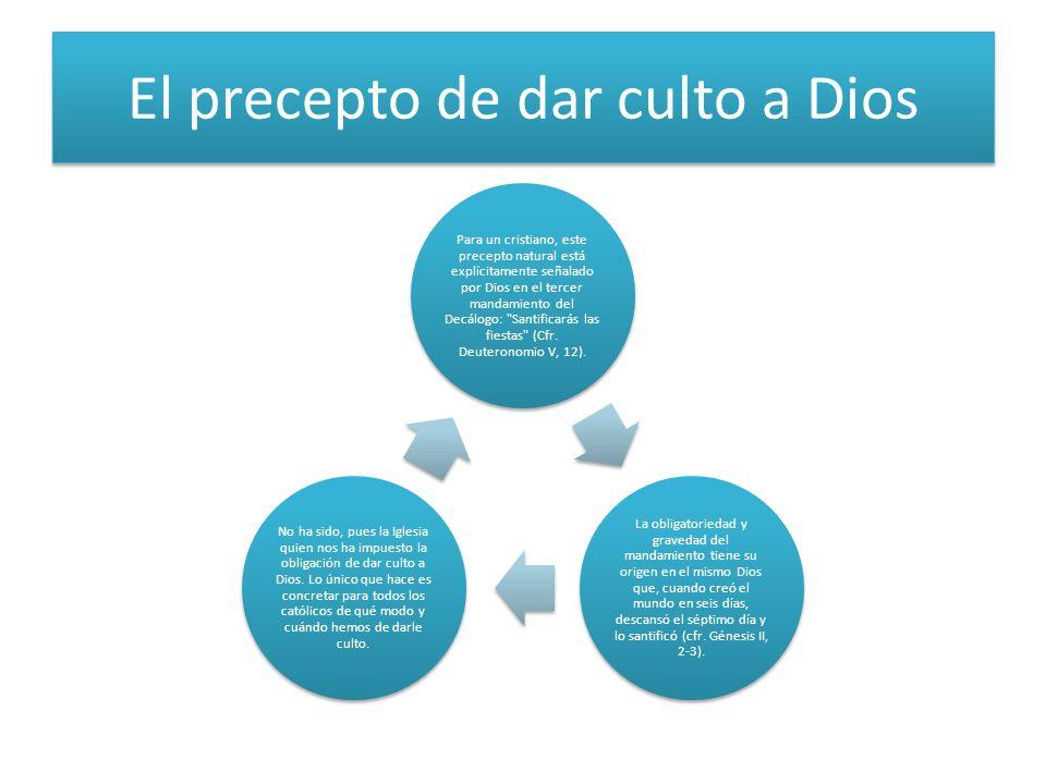 El precepto de dar culto a Dios Para un cristiano, este precepto natural está explícitamente señalado por Dios en el tercer mandamiento del Decálogo: