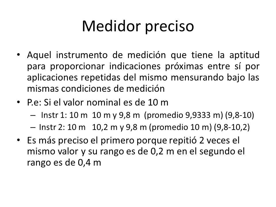 Medidor preciso Aquel instrumento de medición que tiene la aptitud para proporcionar indicaciones próximas entre sí por aplicaciones repetidas del mis