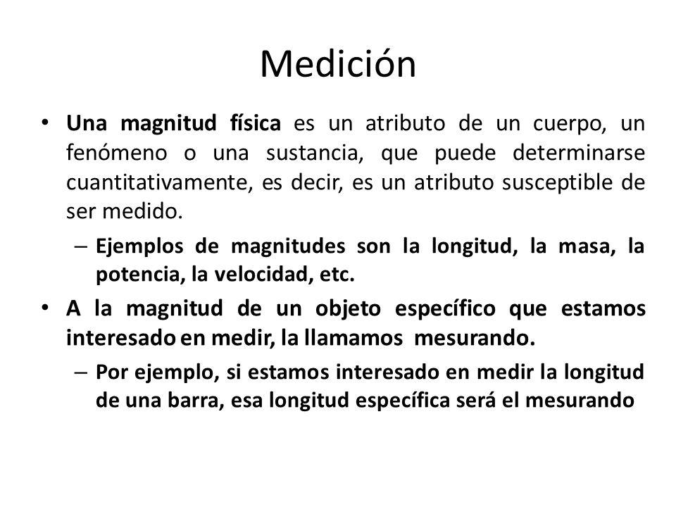 Medición Una magnitud física es un atributo de un cuerpo, un fenómeno o una sustancia, que puede determinarse cuantitativamente, es decir, es un atrib