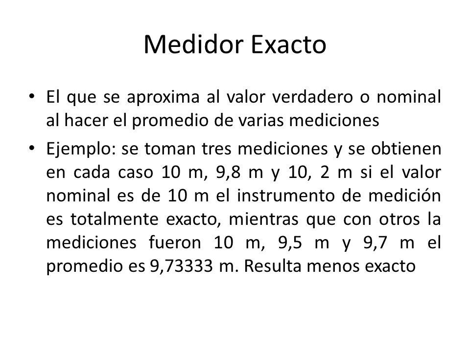 Medidor preciso Aquel instrumento de medición que tiene la aptitud para proporcionar indicaciones próximas entre sí por aplicaciones repetidas del mismo mensurando bajo las mismas condiciones de medición P.e: Si el valor nominal es de 10 m – Instr 1: 10 m 10 m y 9,8 m (promedio 9,9333 m) (9,8-10) – Instr 2: 10 m 10,2 m y 9,8 m (promedio 10 m) (9,8-10,2) Es más preciso el primero porque repitió 2 veces el mismo valor y su rango es de 0,2 m en el segundo el rango es de 0,4 m