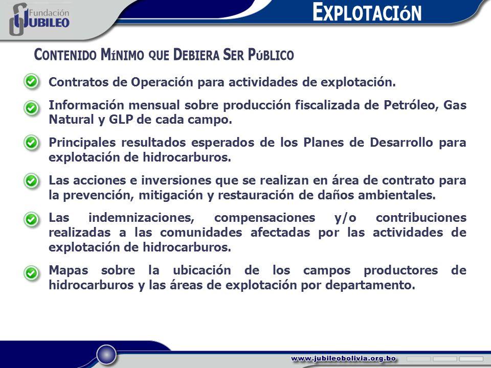 E XPLOTACIÓN C ONTENIDO M ÍNIMO QUE D EBIERA S ER P ÚBLICO Contratos de Operación para actividades de explotación.