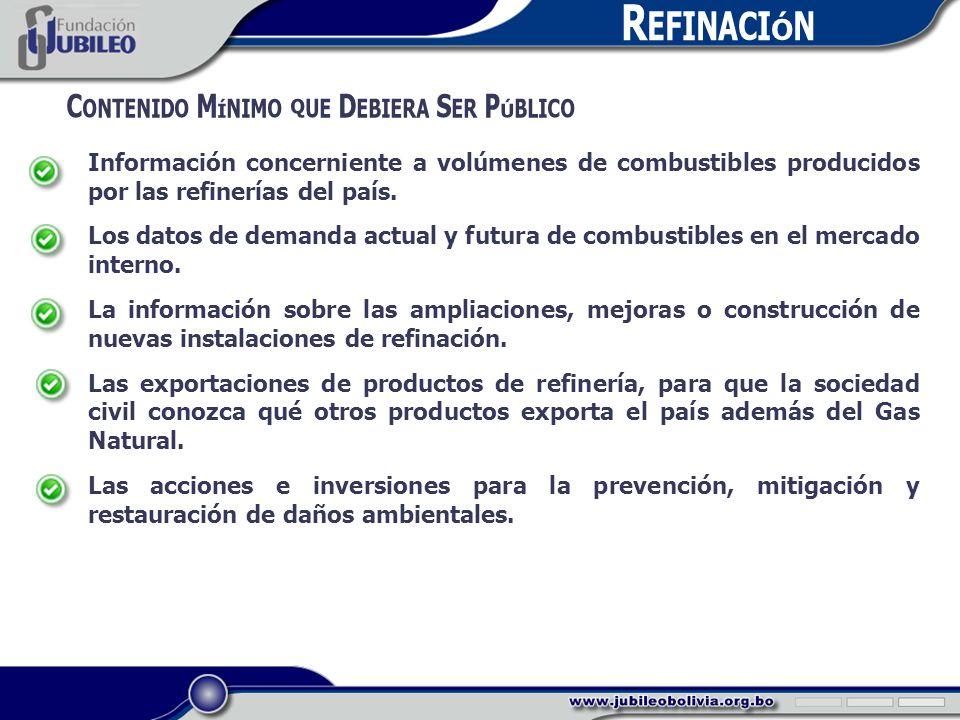 R EFINACIÓN C ONTENIDO M ÍNIMO QUE D EBIERA S ER P ÚBLICO Información concerniente a volúmenes de combustibles producidos por las refinerías del país.