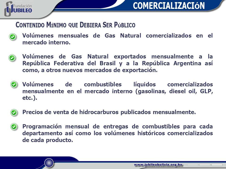 COMERCIALIZACIÓN C ONTENIDO M ÍNIMO QUE D EBIERA S ER P ÚBLICO Volúmenes mensuales de Gas Natural comercializados en el mercado interno.