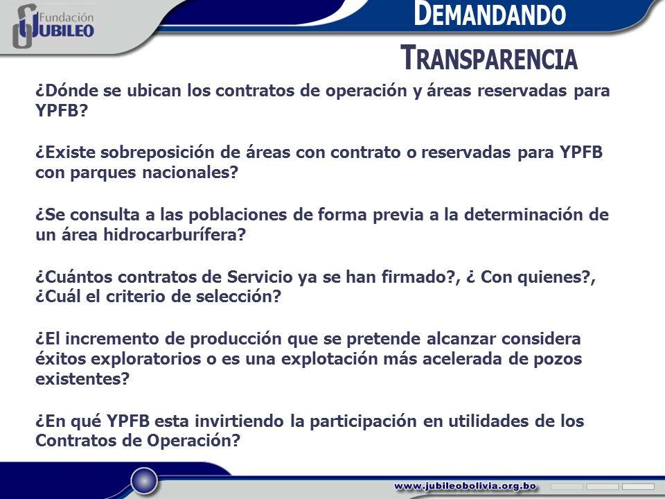D EMANDANDO T RANSPARENCIA ¿Dónde se ubican los contratos de operación y áreas reservadas para YPFB.