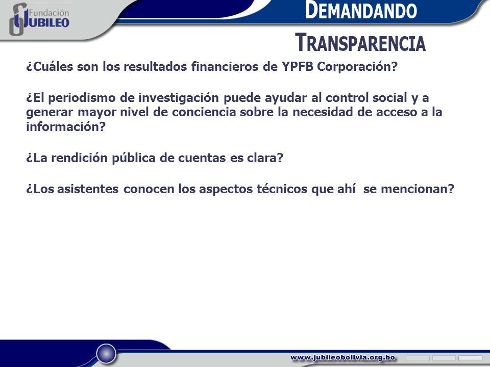 D EMANDANDO T RANSPARENCIA ¿Cuáles son los resultados financieros de YPFB Corporación.