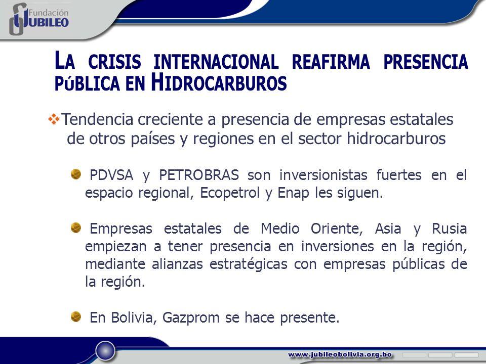 L A CRISIS INTERNACIONAL REAFIRMA PRESENCIA PÚBLICA EN H IDROCARBUROS Tendencia creciente a presencia de empresas estatales de otros países y regiones en el sector hidrocarburos PDVSA y PETROBRAS son inversionistas fuertes en el espacio regional, Ecopetrol y Enap les siguen.