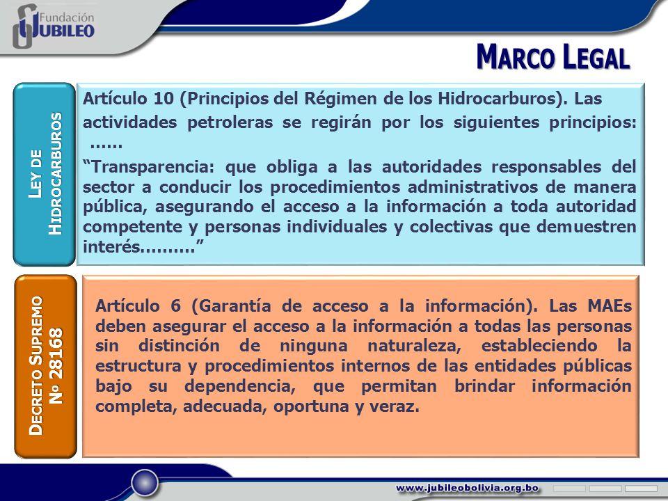 Artículo 10 (Principios del Régimen de los Hidrocarburos).
