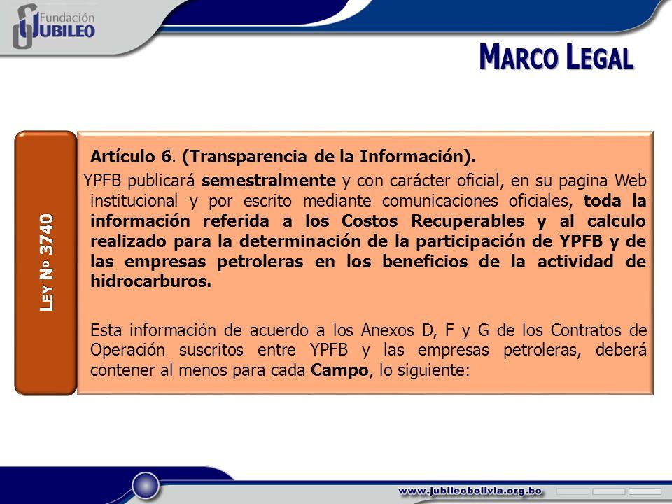 Artículo 6. (Transparencia de la Información).