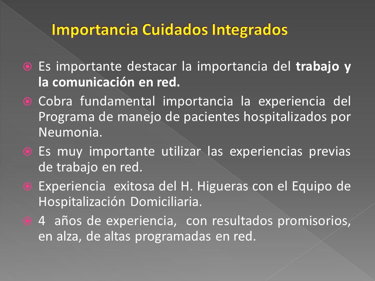 Es importante destacar la importancia del trabajo y la comunicación en red. Cobra fundamental importancia la experiencia del Programa de manejo de pac
