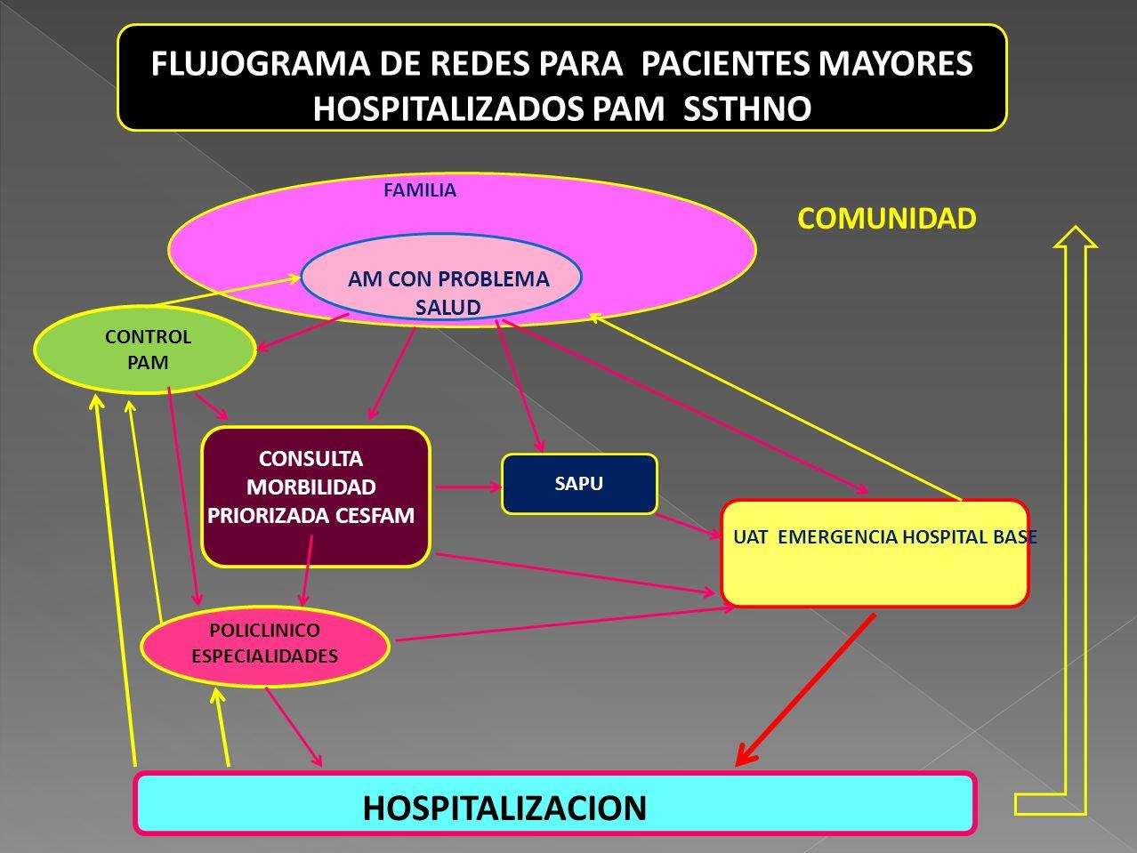FLUJOGRAMA DE REDES PARA PACIENTES MAYORES HOSPITALIZADOS PAM SSTHNO FAMILIA AM CON PROBLEMA SALUD SAPU CONSULTA MORBILIDAD PRIORIZADA CESFAM UAT EMER