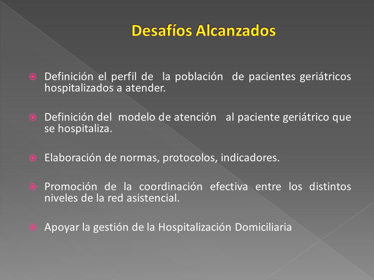 Definición el perfil de la población de pacientes geriátricos hospitalizados a atender. Definición del modelo de atención al paciente geriátrico que s