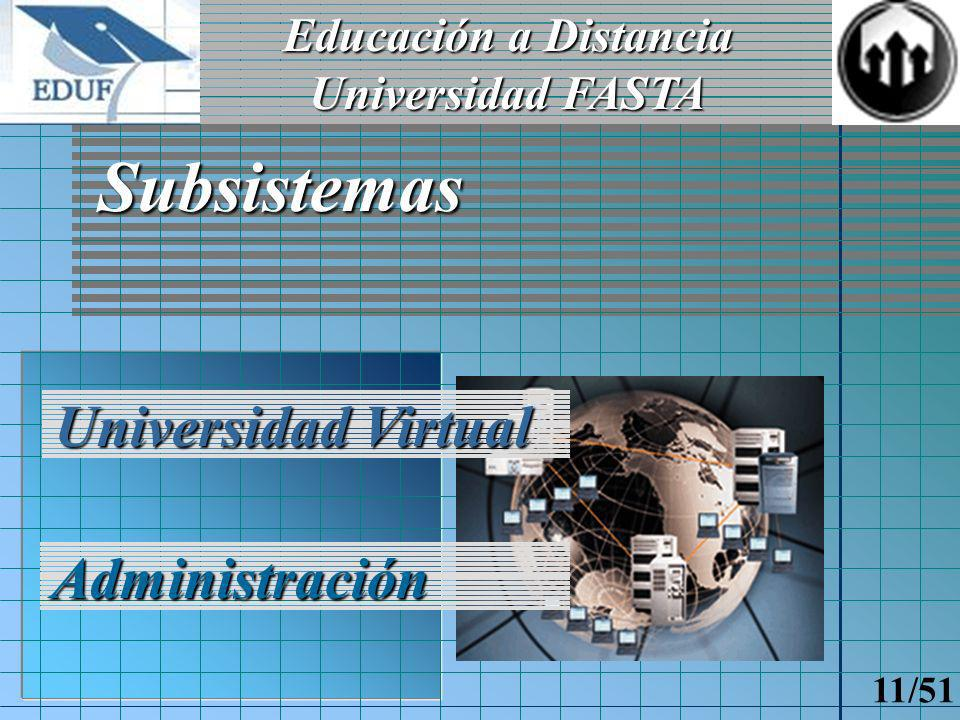 Educación a Distancia Universidad FASTA 10/51 Alcances del Sistema Alumnos Docentes Personal jerárquico Personal administrativo Administrador del sistema