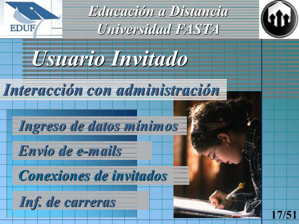Educación a Distancia Universidad FASTA 16/51 Ingreso Paseo por EDUF Información disponible Institución Usuario Invitado Preguntas frecuentes (Faqs)