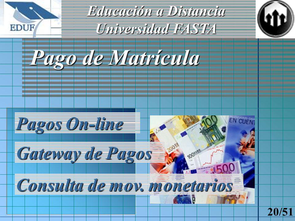 Educación a Distancia Universidad FASTA 19/51 Tablero de control del Aspirante Nuevas opciones disponibles Alumno reconocido por el sistema