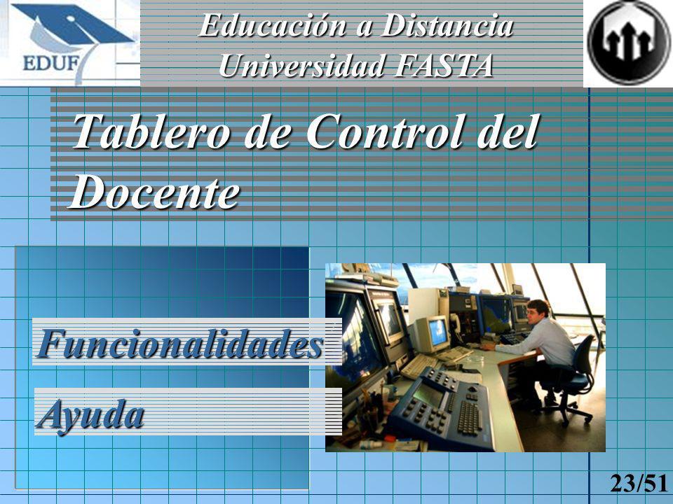 Educación a Distancia Universidad FASTA 22/51 Tablero de Control del Alumno Funcionalidades Ayuda