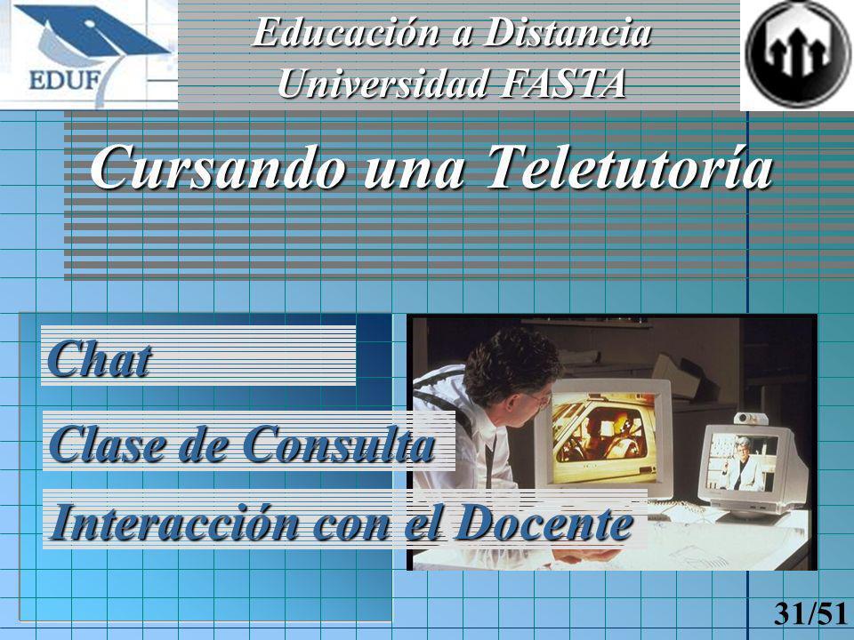 Educación a Distancia Universidad FASTA 30/51 Cursada del alumno Obtención de materiales Temas de un módulo Trabajos prácticos Actividades para hoy
