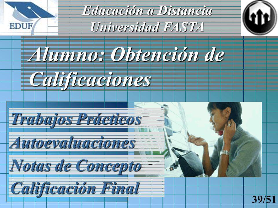 Educación a Distancia Universidad FASTA 38/51 Docente: Calificación de un Alumno Trabajos Prácticos Notas de Concepto Historial de calificaciones