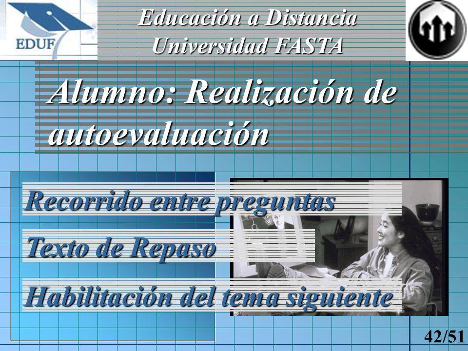 Educación a Distancia Universidad FASTA 41/51 Docente: Creación de autoevaluación Preguntas Gráficos Opciones
