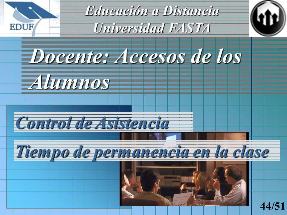 Educación a Distancia Universidad FASTA 43/51 Alumno: Cartelera de Mensajes Enviados desde aplicación administrativa Eliminación Marcar como no leído