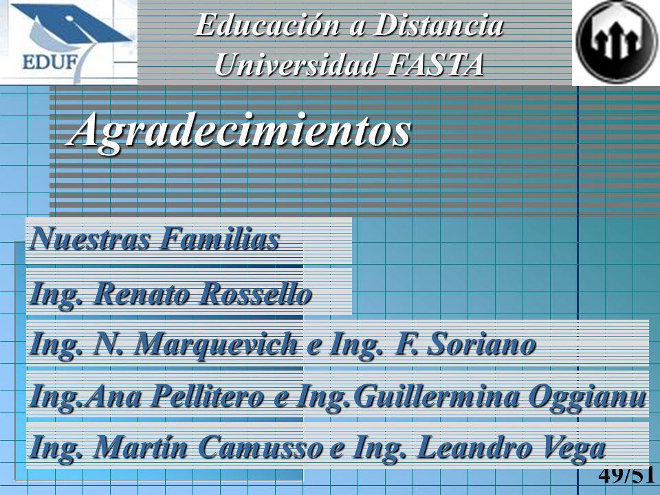 Educación a Distancia Universidad FASTA 48/51 Preguntas ?