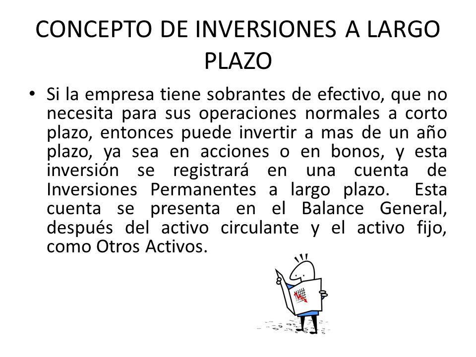 CONCEPTO DE INVERSIONES A LARGO PLAZO Si la empresa tiene sobrantes de efectivo, que no necesita para sus operaciones normales a corto plazo, entonces